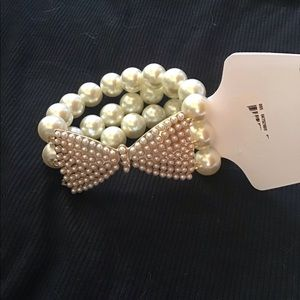 Adorable Multi strand Pearl with Bow Bracelet